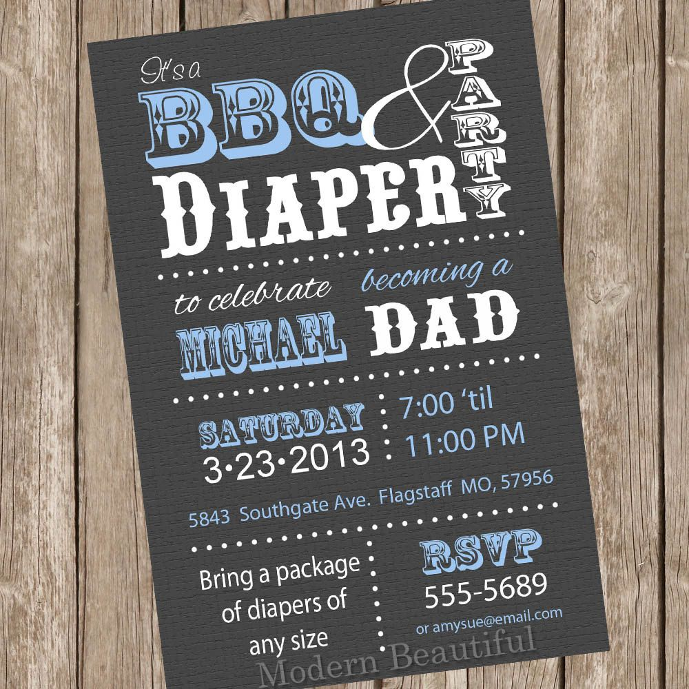 BBQ and Diaper Baby Shower Invitation Grey and Blue Dad Diaper ...