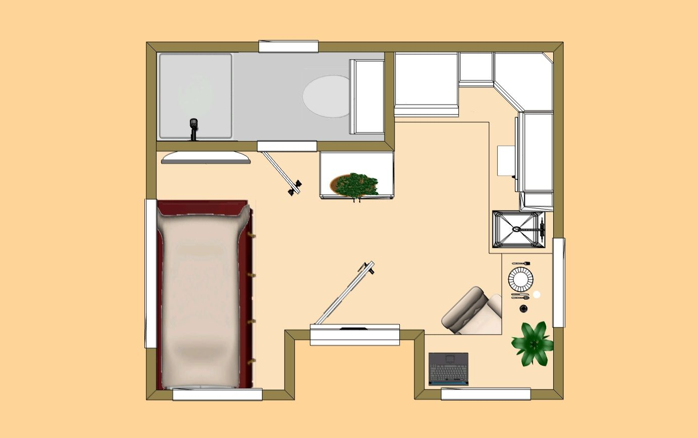 The 160 Sq Ft Lone Wolf Floor Plan Tiny House 200 Sq Ft House