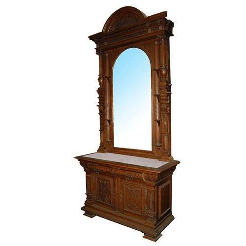 1870 American Furniture Catalogue Pictures: Antique Carved American Victorian Mirrored Hall Stand With