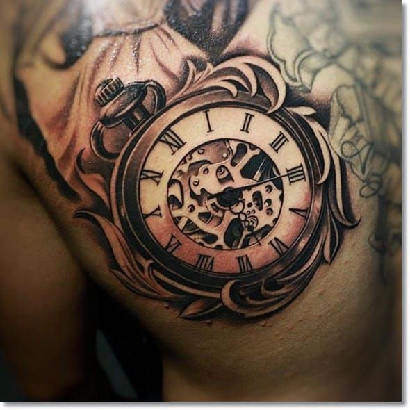 18 This Very Realistic Antique Pocket Watch Tattoo Watch Tattoo Design Watch Tattoos Pocket Watch Tattoo Design