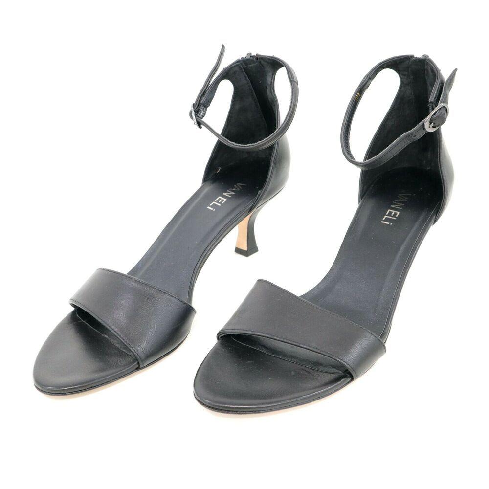 Van Eli Sandals Womens Ankle Strap 9n Black Leather Kitten Heel Minimalistic Vaneli Slingback Dress In 2020 Womens Sandals Ankle Strap Minimalist Shoes
