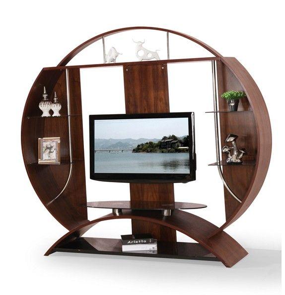 Furniture · Circular Wood Glass TV Stand ...
