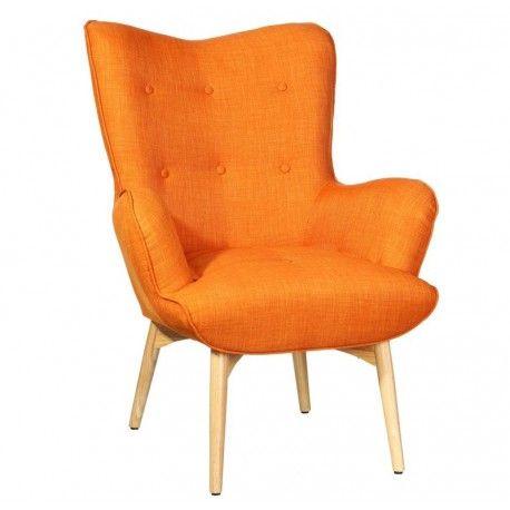 Butaca con reposabrazos, patas de madera y asiento tapizado con poliester:      Colores disponibles:         Naranja         Azul     Ancho: 78 cm     Largo: 84 cm     Alto: 100 cm
