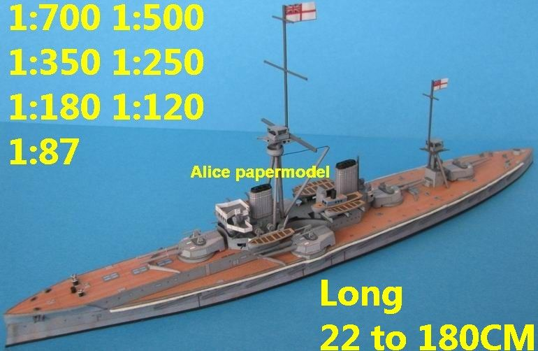 Alice Papermodel 1 700 1 500 1 350 1 250 Wwi Uk Ironclad Hms