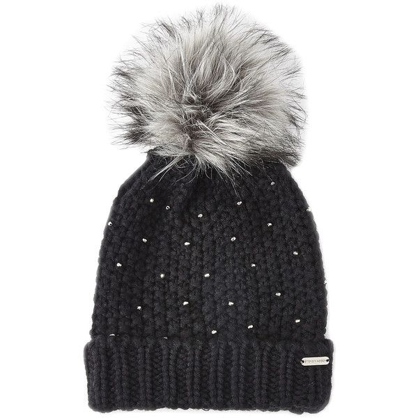 Steve Madden Winter Glint Knit Pom-Pom Beanie ($13) ❤ liked on Polyvore featuring accessories, hats, black, pom pom hat, beanie cap, chunky beanie, knit pom beanie and chunky knit beanie