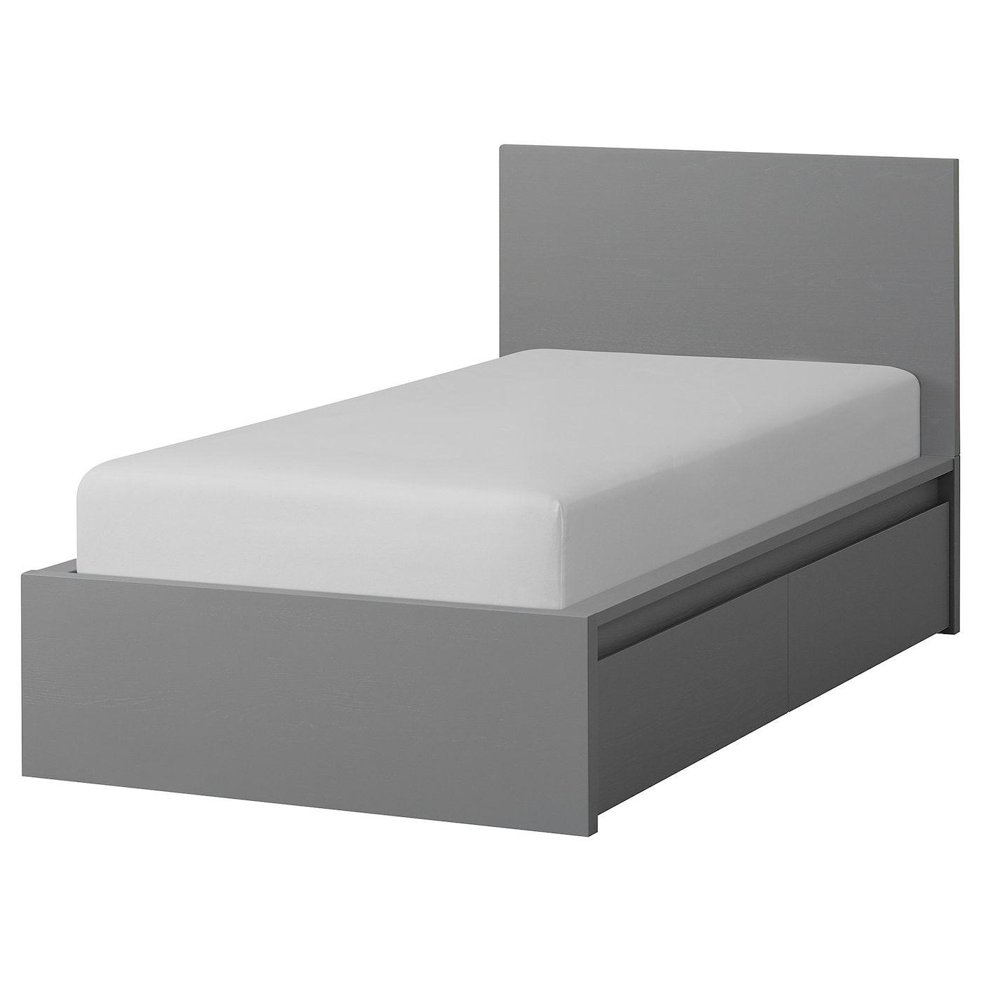 Malm Bettgestell Hoch Mit 2 Schubkasten Grau Las Leirsund In 2020 Malm Bett Verstellbare Betten Und Bettgestell