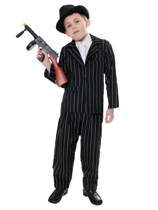 Child Gangster Costume Boys 1920s Mafia Kid Pinstripe Suit Fancy Dress Outfit
