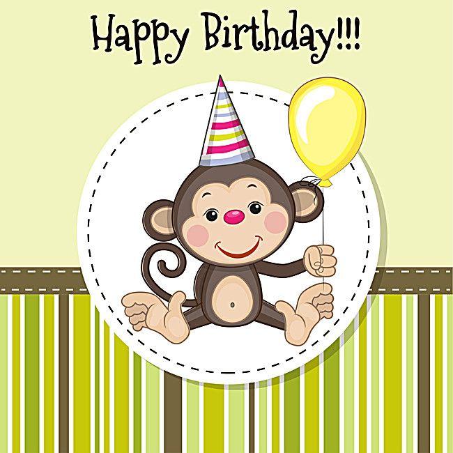 Happy Birthday Painted Monkey Striped Background Happy Birthday Cards Happy Birthday Painting Monkey Birthday