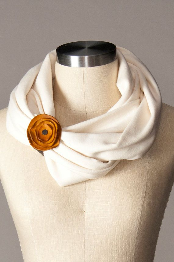 infinity scarf with floral leather cuff  natural cotton by flytrap, $25.00