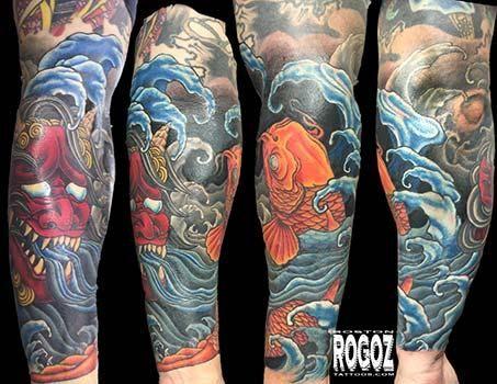 8e0d940fe Koi and Oni forearm tattoo by Boston Rogoz : Tattoos | Custom Koi ...
