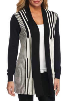 New Directions  Womens Open Front Flair 2 Color Coatigan
