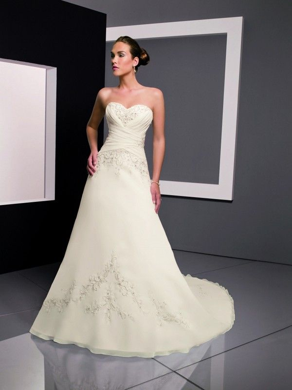 Elegant Organza/Satin Sweetheart Cathedral Train A-Line Wedding Dresses With Embroidery