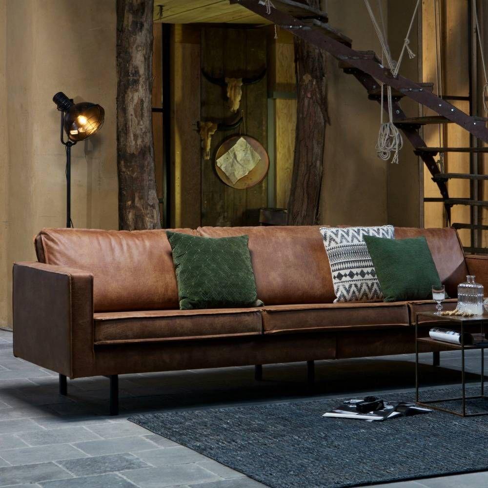 Sofa Rodeo 3 Sitzer Aus Leder Cognacbraun 78x274x87cm Mit Bildern Leder Wohnzimmer Ledersofa Wohnzimmermobel Modern