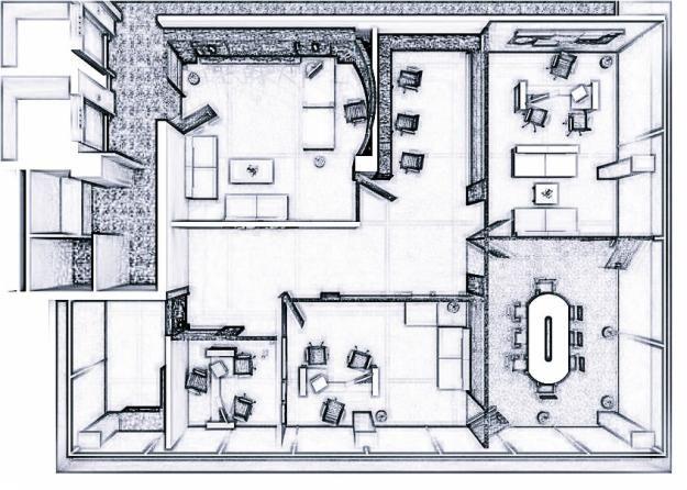 Plano 625 446 p xeles ofi pinterest for Planos de oficinas pequenas