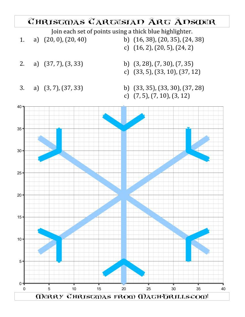A symmetrical Christmas Snowflake. Coordinate grid picture