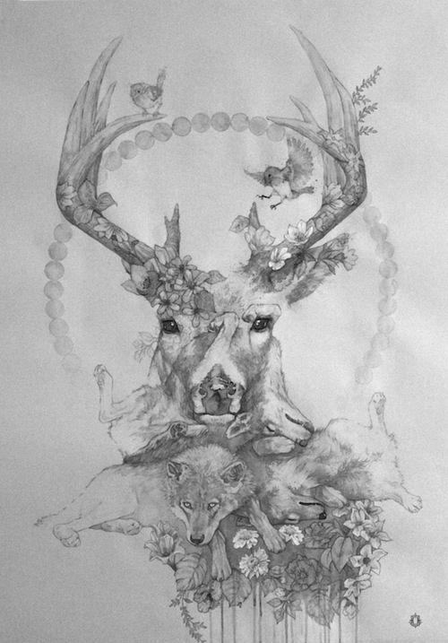 tatouage cerf loup - recherche google | mon futur tatouage | pinterest