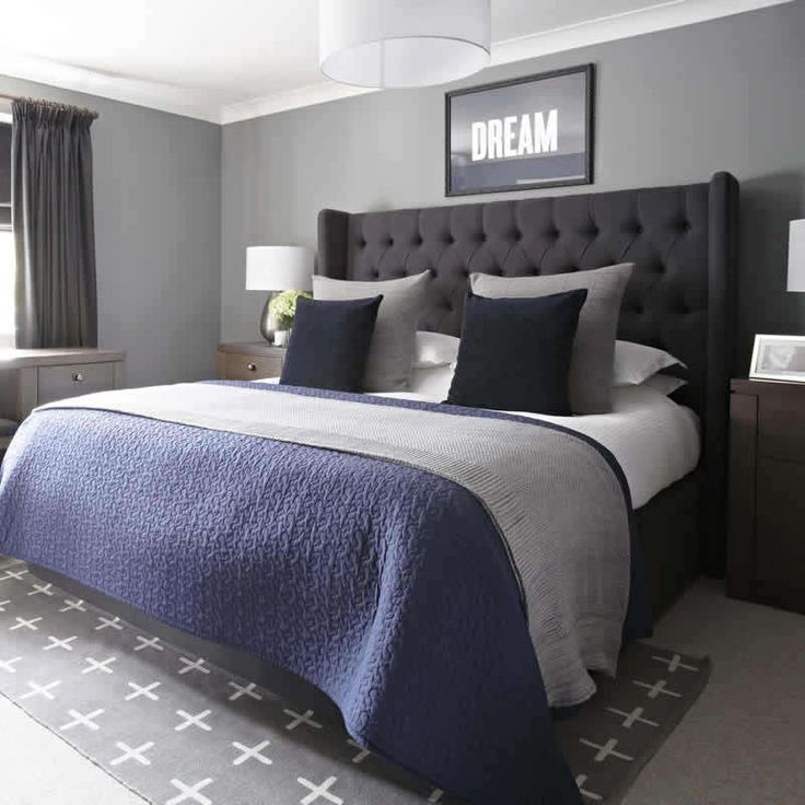 Grey And Navy Bedroom Urban Outfitters Rug Upholstered Bed