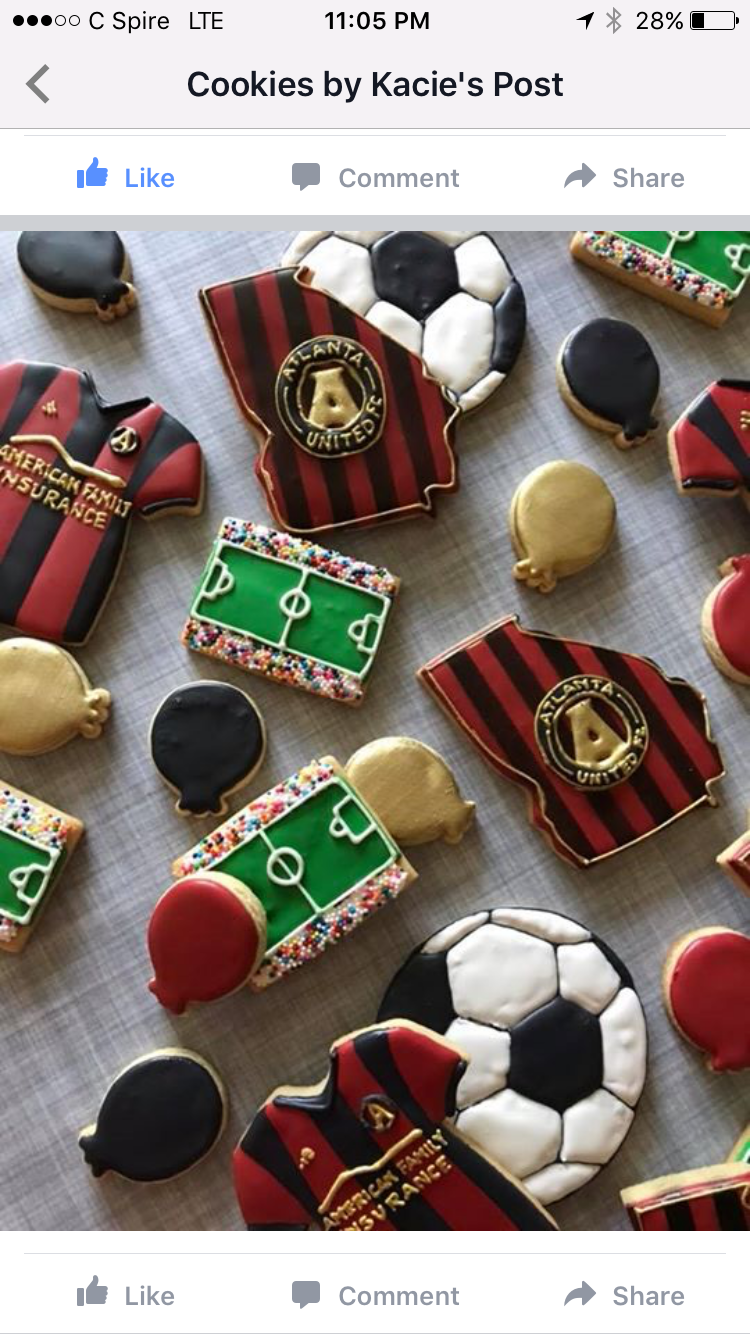 Atlanta United Soccer cookies by Kacie Soccer birthday
