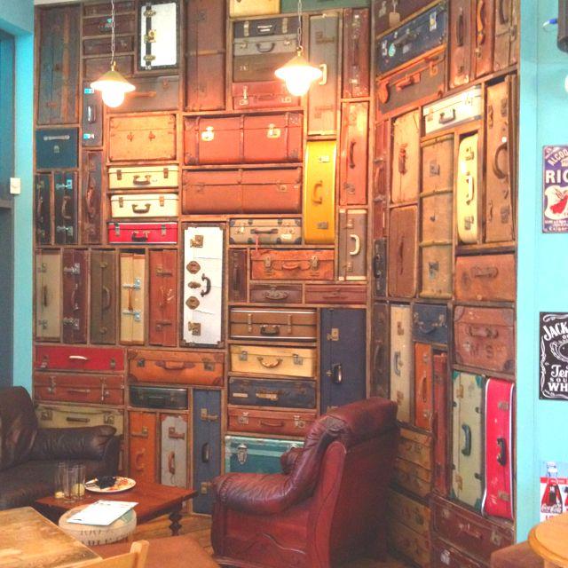 Vintage suitcase wall #design