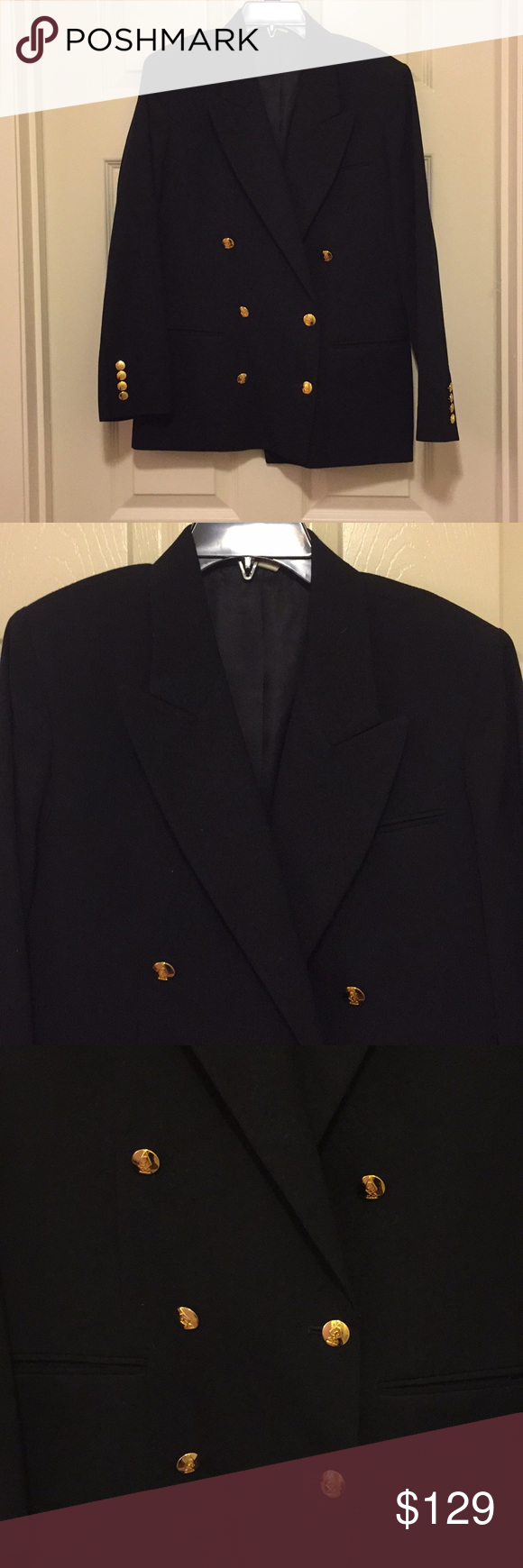 Austin Reed Blazer In Great Condition Gold Logo Buttons Double Breasted Front Pockets All Reasonable Offers Accepted Aus Clothes Design Blazer Austin Reed