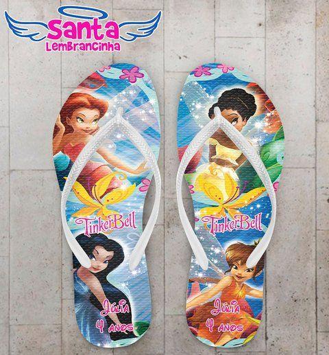 Chinelo Infantil Tinker Bell Fadas Personalizado