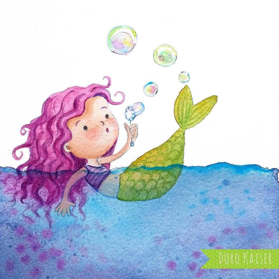 Aquarell Kinderbild Mit Kleiner Meerjungfrau Im Meer Illustration