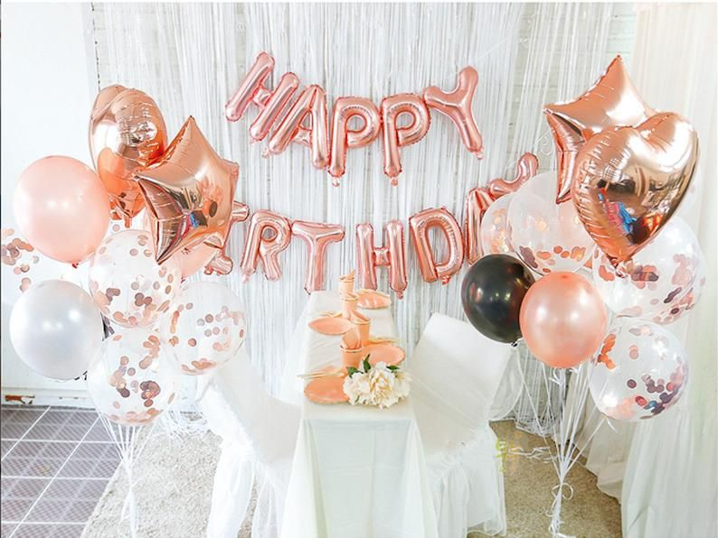 Rose Gold Happy Birthday Banner Bunting Decoration Birthday Party Marble