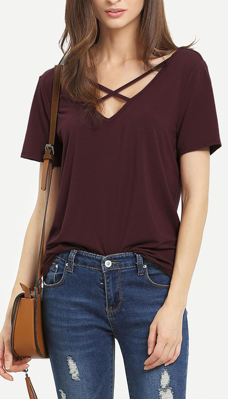 get cheap sneakers closer at Burgundy Criss Cross Front Casual T-shirt | Fashion, Outfits ...
