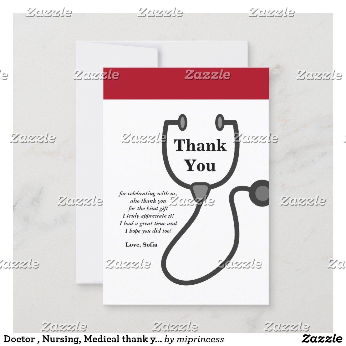 Doctor nursing medical thank you card in