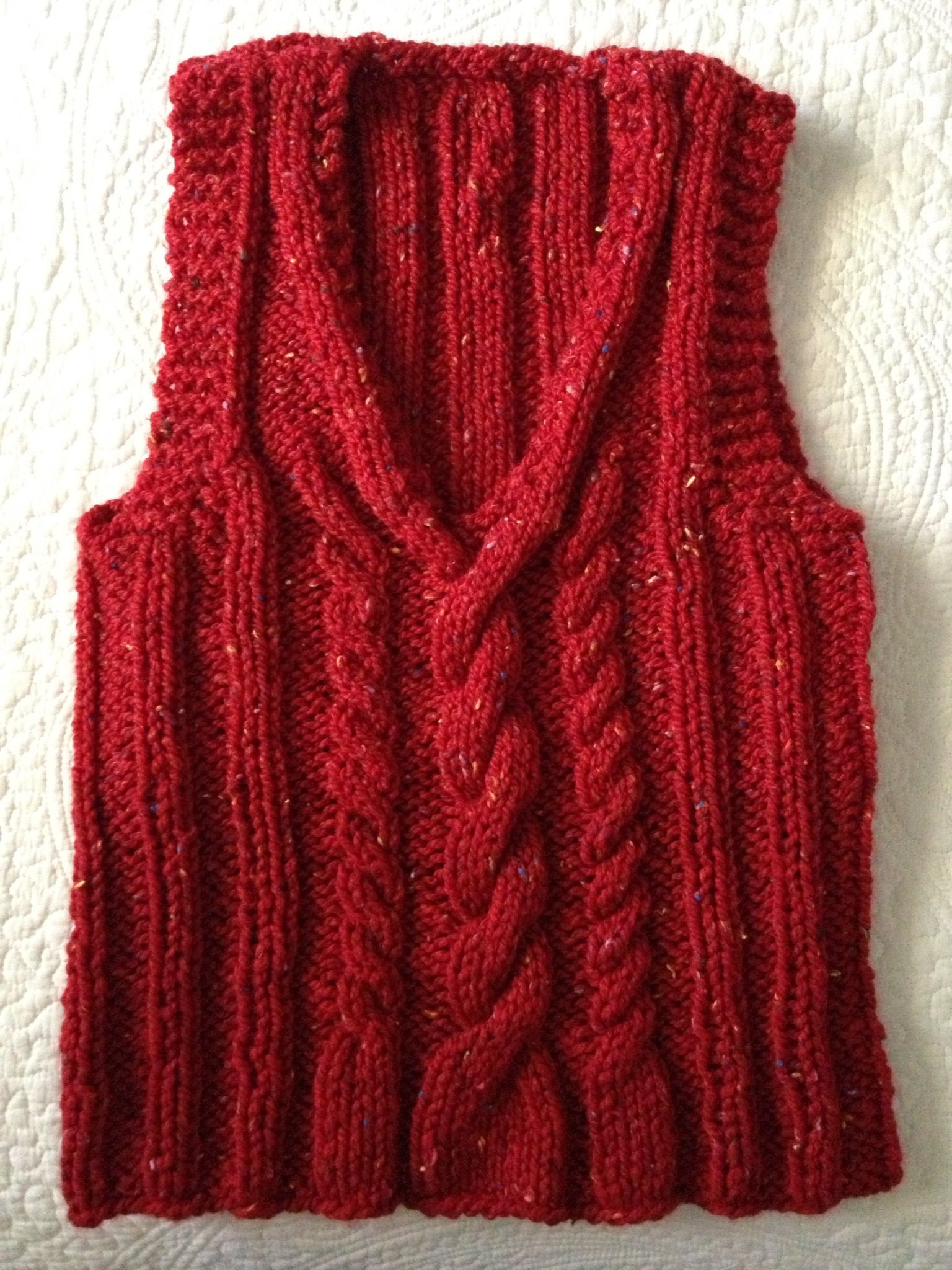 Cable Vest; Drops by Design pattern, knit in round with bulky yarn ...
