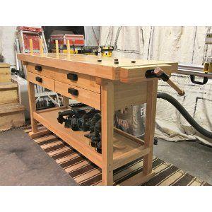 60 Hardwood Windsor Design Workbench with 4 Drawers