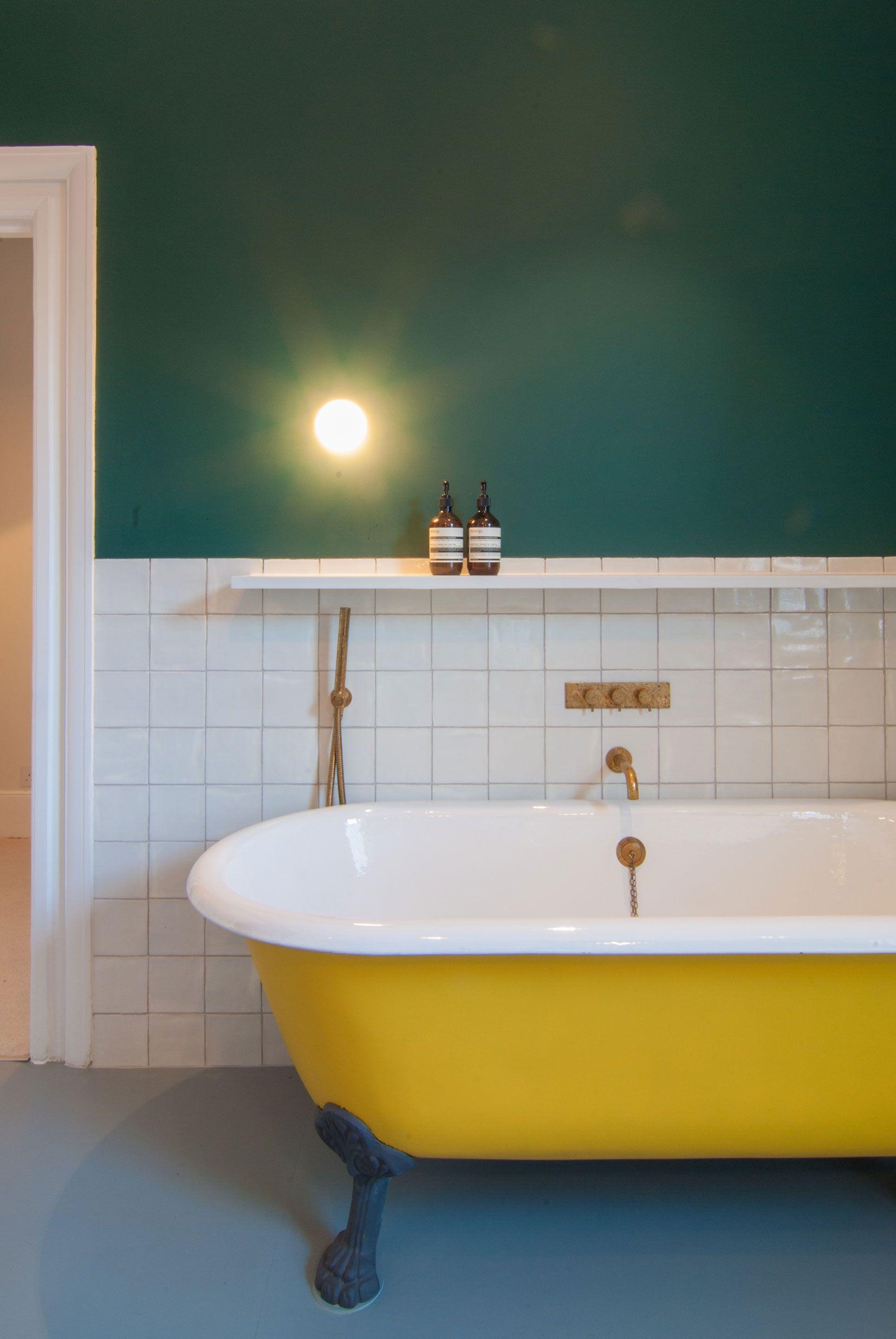 Yellow Bath Dark Green Wall Gold Bath Fittings White Tiles Bathroom Yellow Bathroom Decor Yellow Bathrooms Teal Bathroom