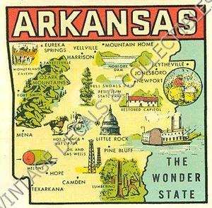 Vintage arkansas wonder state map goldfarb novelty travel water ...