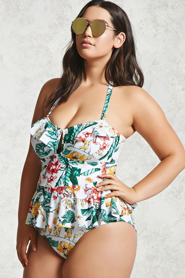 430ffc6192f Plus Size Floral One-Piece | Swimsuits in 2019 | Off shoulder ...