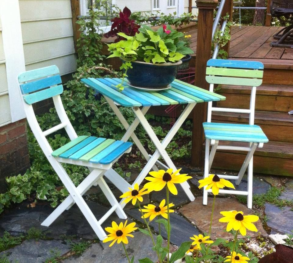 White Blues And Greens Painted Wood Slat Patio Table And Chairs Restoration41 Wood Patio Chairs Painted Patio Garden Chairs