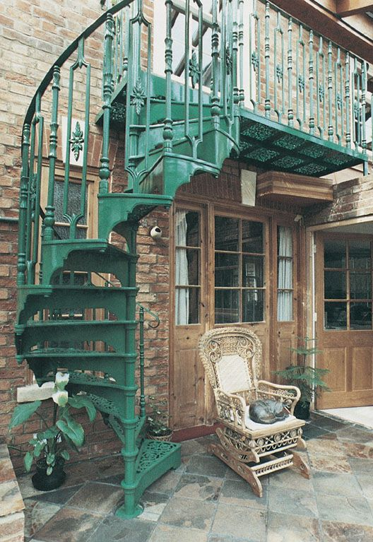 superb victorian spiral staircase #3: Victorian Spiral Staircase with Floral Infill Panel