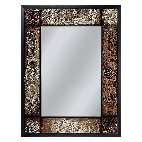 25-Inch x 33-Inch Patchwork Mirror in Bronze | Screen design, Black ...