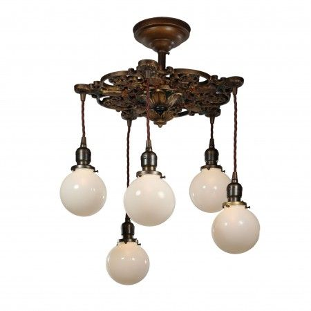 neoclassical lighting. Neoclassical Semi Flush-Mount Chandelier With Ball Shades, Antique Lighting Neoclassical Lighting N
