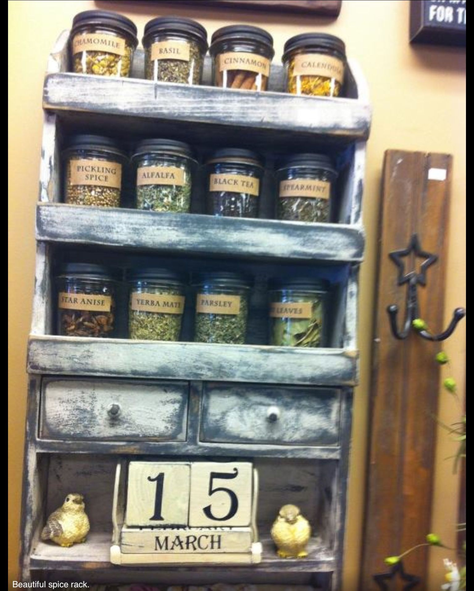 Primitive Spice Rack. Adorable For Your Country Kitchen