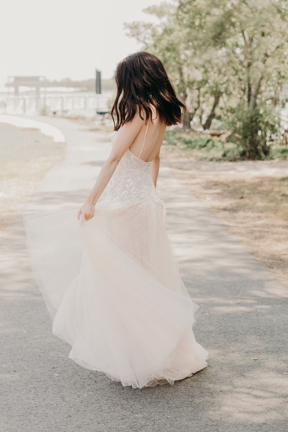 Drop waist bridal gown with tulle skirt by goddess by nature