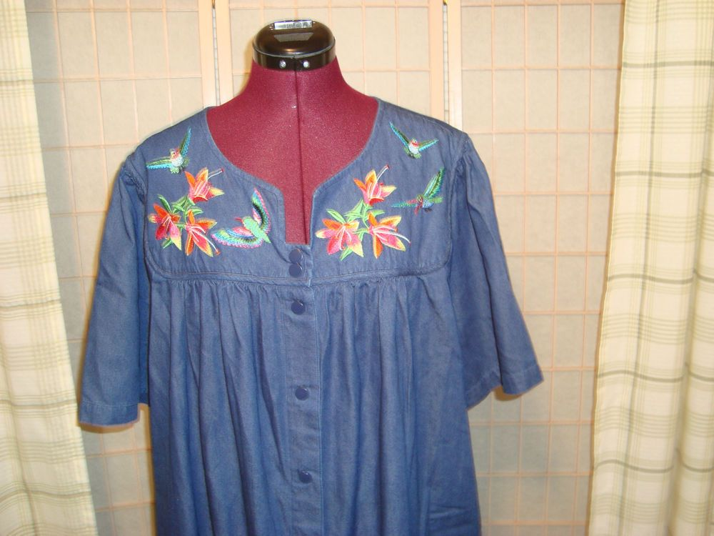 Go Softly Patio Sz 3x Women S Denim 100 Cotton Duster House Dress