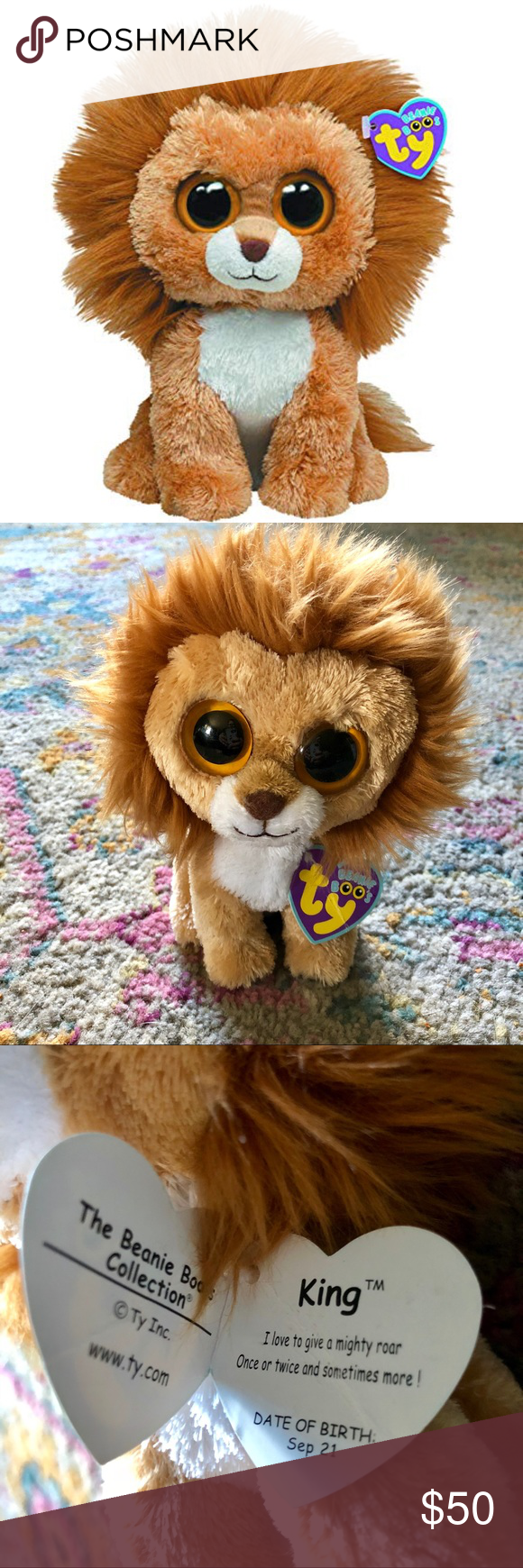 Beanie Boo King the Lion  RARE   RETIRED  EUC EUC including tag. Ty Beanie  Baby Other 11b3f125f4