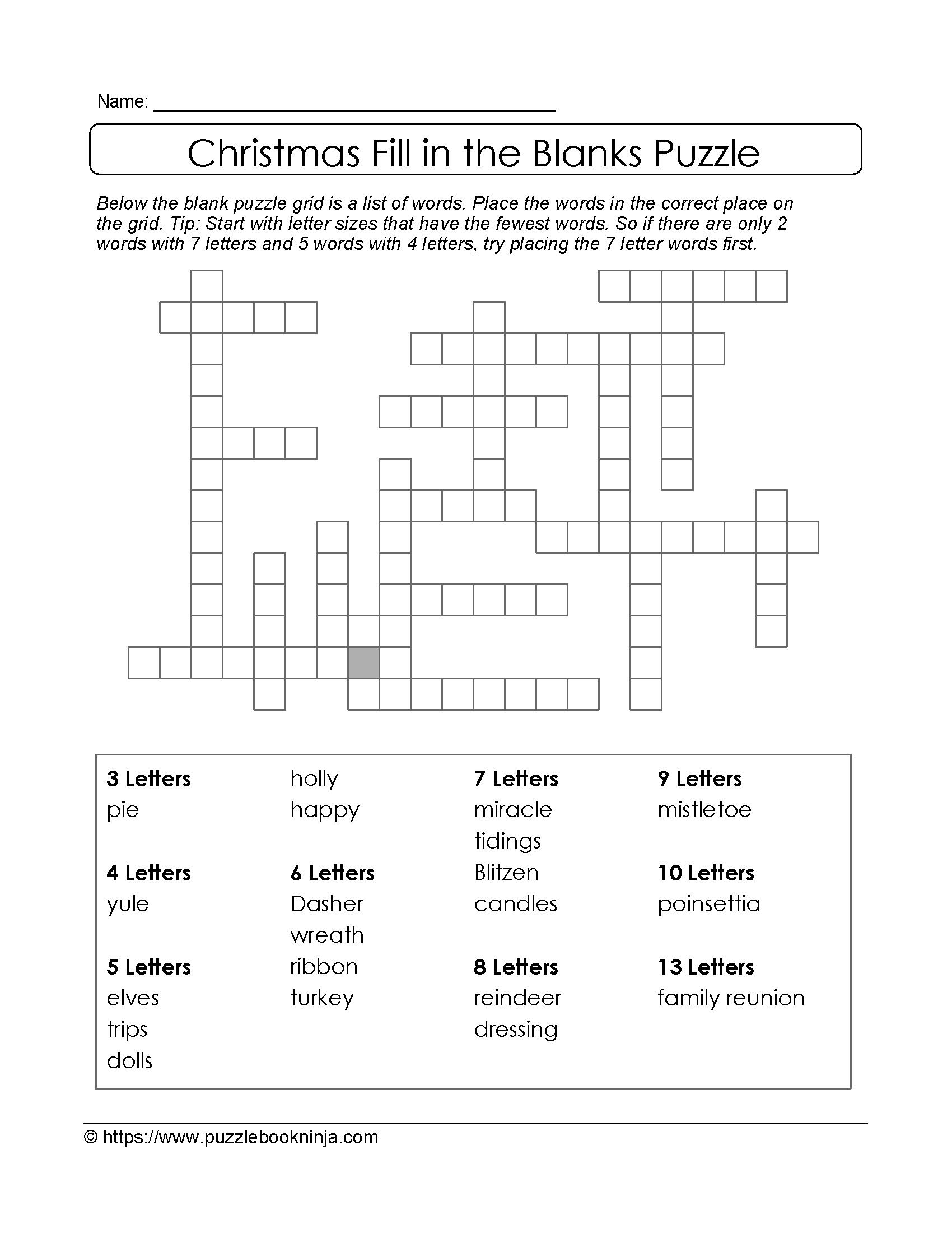 Puzzles To Print Downloadable Christmas Puzzle