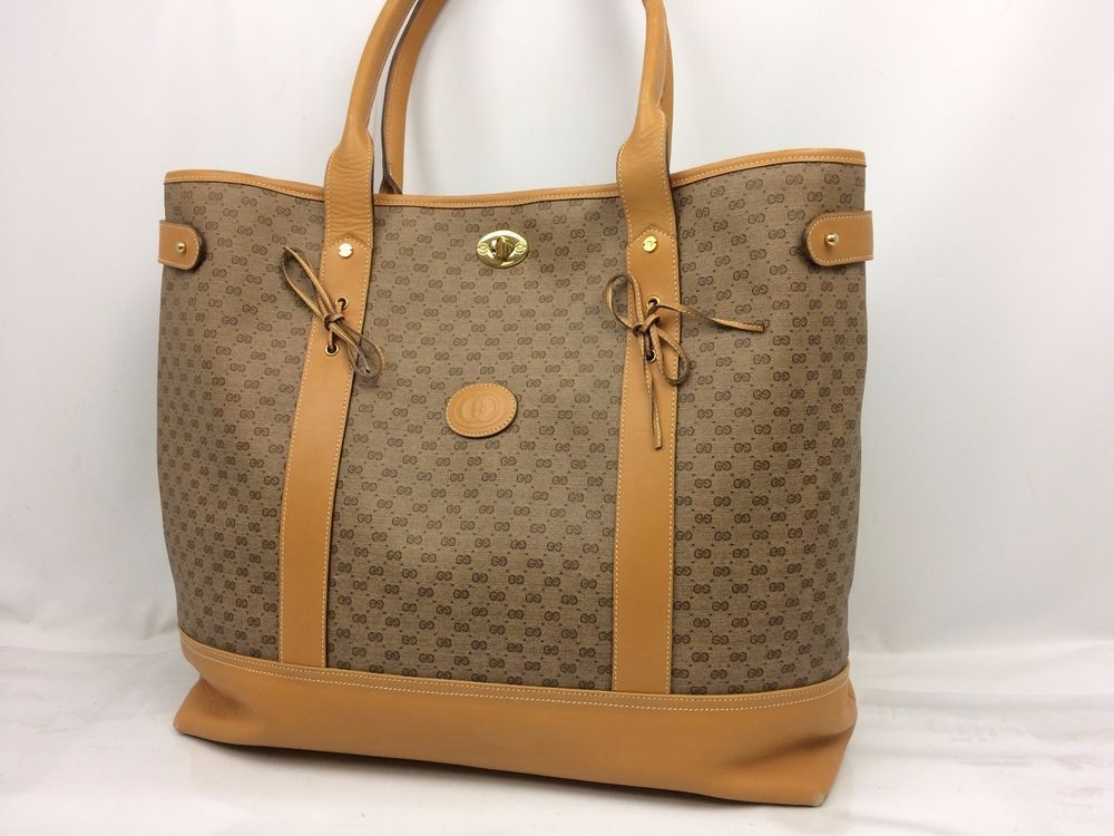 ed04b7a0bf0 Auth GUCCI GG Pattern PVC Shoulder Tote Shopping Bag Brown 7i060280m ...