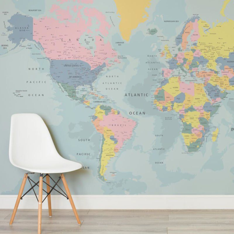 neutral shades world map mural custom made to suit your wall size by the uks for wall murals