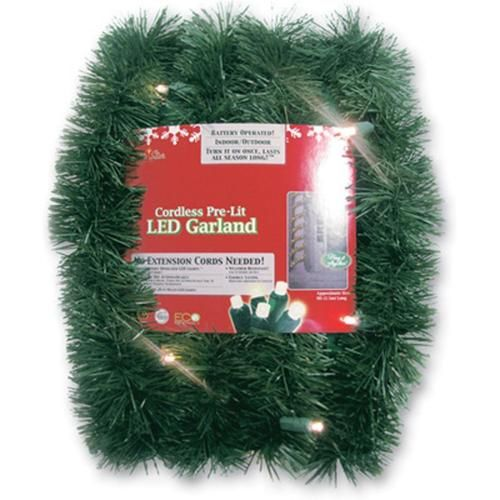 18\u0027 Pre-Lit Battery Operated Sparkling Artificial Christmas Garland