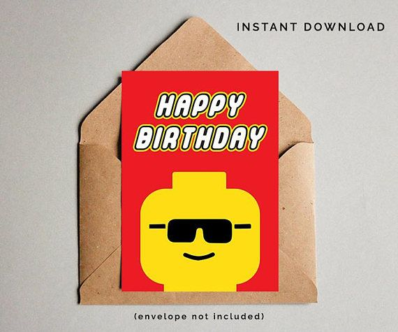 Lego Birthday Card Lego Birthday Gift Boys Happy Birthday Clares