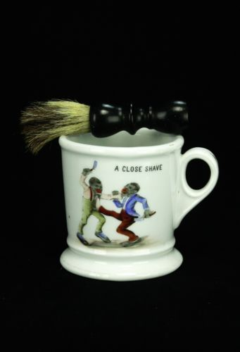 Antique German Kpm Shaving Mug With Black Figures Ca1880 Limpieza Objetos Salon De Belleza