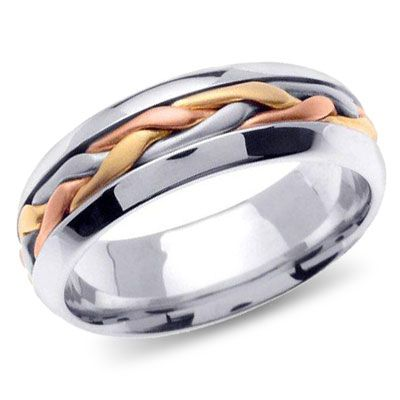 Measuring 7mm wide, this Allura Uinta wedding band features a perfectly woven braid of 14K tri-color gold.  Click on the picture for more details.