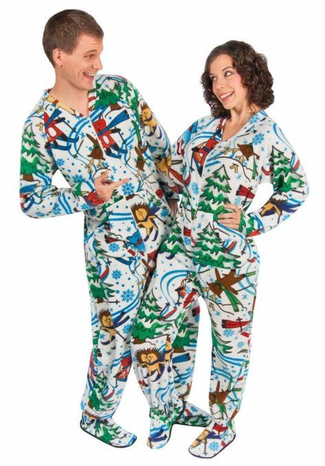 Matching Couples #Pajamas: Skiing Animals Footed Pajamas ...